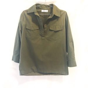 Faithfull the Brand | green utility popover blouse